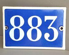 VINTAGE FRENCH HOUSE NUMBER SIGN door gate PLATE PLAQUE Enamel 883 Blue