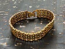 """Vintage Monet Signed Gold Tone Bracelet Link Latch 7"""""""