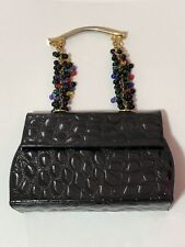 3d023f2c5d Rare Vtg Gianni Versace Patent Croc Leather Bead Handle 90s Bag