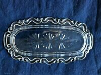 Vintage EAPG Clear Butter Dish Scalloped Decorative Edge Thick Base Star Design