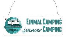 Vintage Shabby Türschild Holzschild EINMAL CAMPING IMMER CAMPING Geschenk Camper