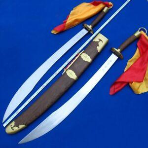 Handmade Martial Arts KUNG-FU Double Blade Sword Steel Blade Unsharpened #0016