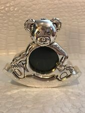 Rocking Silver Tone Teddy Bear Picture Frame Baby's Room Decor