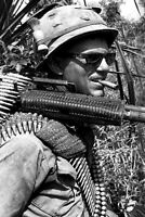 Soldier with an M-60 Vietnam War Photo WW2 4x6 U