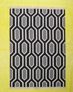 Room Hnad Woven 5x7 Black Floor Mat Geometric Afghan Rugs Dhurrie Kilim Living