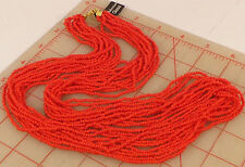 Vintage Bohemian multi strand Glass Czech Seed Bead Necklace Coral Red 24""