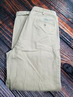 POLO BY RALPH LAUREN Chino Mens Brown Pleated Cuffed Pants Size 34 Inseam 32""