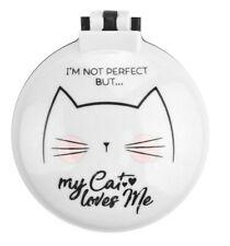 White Cat Compact Mirror & Hairbrush Make-Up Mirrors Small Ladies Travel Beauty