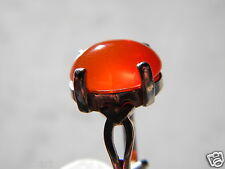 High Grade Carnelian Cabachon Solitaite Ring 14x10 oval 7+ct, sz7 925 Silver