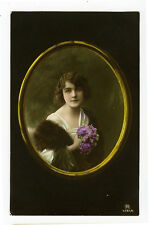 c 1914 Glamour CAMEO BEAUTY tinted photo postcard