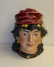 Antique Majolica Tobacco Jar Humidor Gypsy Woman Austria / Germany