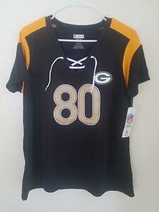 New NFL Team Apparel Green Bay Packers #80 Jimmy Graham V-Neck Shirt Womens NWT