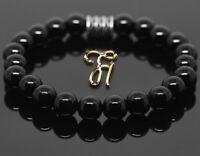 Onyx Armband Bracelet Perlenarmband Buddha schwarz 8mm