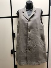 Veritecoeur Japan One Size Linen Gray Taupe Collar Long Vest