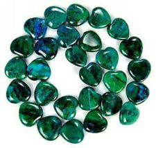 15mm Azurite Chrysocolla Gem Heart Loose Bead 15''