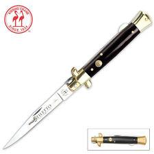 DISCOUNTED Black Gangster Stiletto Folding Pocket Knife  Lockback non flick