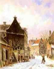 Eversen Adrianus A Village Street Scene In Winter A4 Print