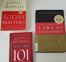 3 books by John Maxwell  Today Matters, Laws of Leadership, Attitude 101