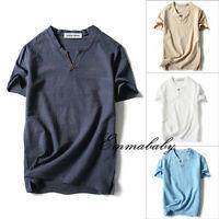Summer Men Cotton Linen Pullover Tops Short Sleeve V Neck Casual Loose T Shirt