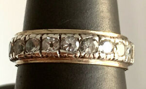 Solid 9ct Gold & Sterling Silver Spinel Set Full Eternity Ring ~ Size O 1/2