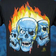 vintage 80s BLOODY SKULL FLAMES PAPER THIN T-Shirt SMALL biker skeleton punk