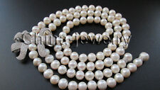 """P6673-30"""" 10-11mm natural white round freshwater pearl necklace - zircon Bowknot"""