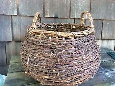 vintage handmade woven twig vine basket solid