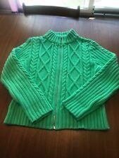 FIELDGEAR Womens L bright green Front Zipped Cardigan Sweater Jacket  St.Pattys