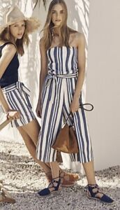 Country Road Stripe Print Belted Tube Jumpsuit With Pockets Size 6