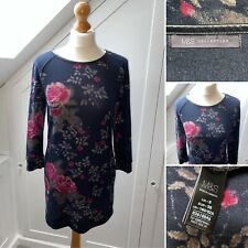 M&S Collection (Size 8) Navy Floral Lightweight Jumper Mini Dress - 3/4 sleeve