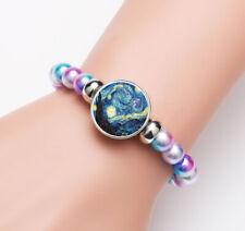 Van Gogh Starry Sky Glass Noosa Snap Chunk Elastic Multicolor Beads Bracelet