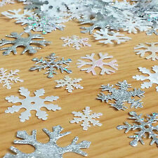 200 x Mixed sparkly fabric Christmas SNOWFLAKE motifs toppers FROZEN Craft