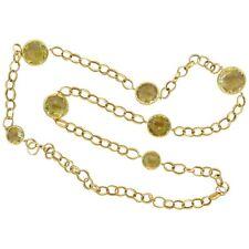Necklace 18K Yellow Gold Italian Lemon Topaz Link