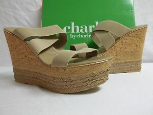 Charles By Charles David Size 10 M Tango Camel Open Toe Wedges New Womens Shoes