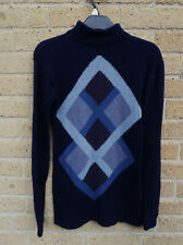 Women's Polo Neck Jumper 100% Lambswool Dark Blue Argyle Diamond Size UK 6