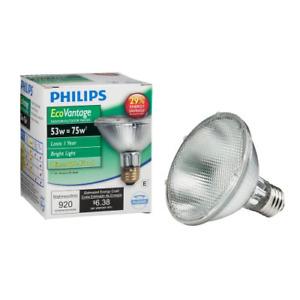 Philips Halogen Dimmable PAR30S Flood Light Bulb: 2860-Kelvin, 53-Watt 75-Watt