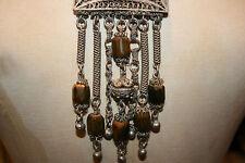 vintage etnico lungo bianco metallo e legno CIONDOLO COLLANA TRIBALE AUTENTICO