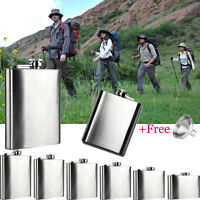 4/5/6/7/8/10 Oz Stainless Steel Hip Liquor Alcohol Travel Camp Flask Cap+Funnel