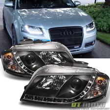 2006-2008 Audi A3 Black Projector Headlights w/ Daytime DRL LED Running Lights