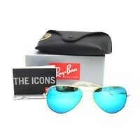 New Ray-Ban RB3025 112/17 Gold Aviator Sunglasses w/ Mirrored Blue Lenses 58mm