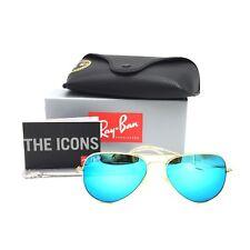 b820c5e55bb New Ray-Ban RB3025 112 17 Gold Aviator Sunglasses w  Mirrored Blue Lenses