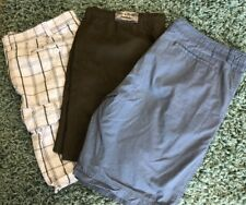 3 Faded Glory Men's Size 42 XL Olive Bark Blue White Summer Short Pants A-8