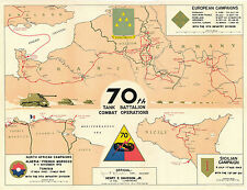 70th Tank Battalion Combat Operations Campaign Map WWII Military Map Vintage