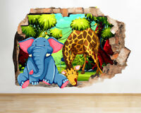 J274 Elephant Giraffe Kids Nursery Smashed Wall Decal 3D Art Stickers Vinyl Room