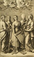 St. Celia; 100 yr old etching Marcantonio Raimondi after Raphael