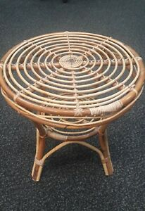 Vintage Bamboo 1970s Tiki Woven Round Circle Spiral Coffee Table Side Table