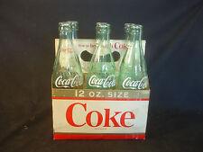 Old Vtg Six 12 Ounce Coke Clear Soda Pop Bottle With Original Case