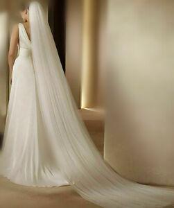 Soft Romantic Wedding VEIL 2-Tier Cathedral chapel Bridal long Veil costom