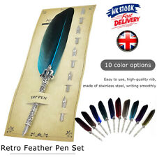 Retro Calligraphy Feather Dip Pen with 5 Nib Writing Ink Quill Fountain Pen Gift