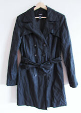 Alfani Size M Black Crushed Material Double Breasted Trench Jacket Coat & Sash